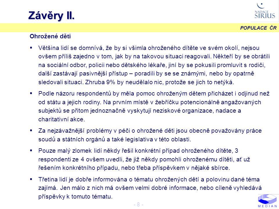 POPULACE ČR - 29 - Pomoc státu ohroženému dítěti VII.