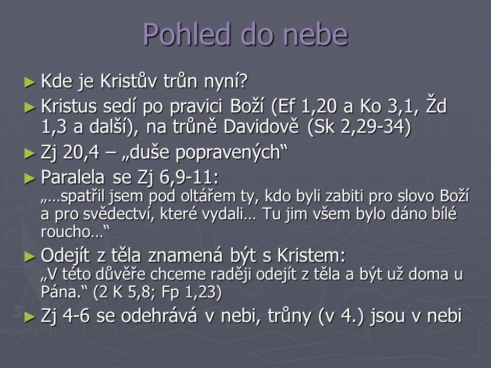 Pohled do nebe ► Kde je Kristův trůn nyní? ► Kristus sedí po pravici Boží (Ef 1,20 a Ko 3,1, Žd 1,3 a další), na trůně Davidově (Sk 2,29-34) ► Zj 20,4