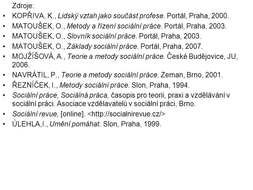 Zdroje: •KOPŘIVA, K., Lidský vztah jako součást profese. Portál, Praha, 2000. •MATOUŠEK, O., Metody a řízení sociální práce. Portál, Praha, 2003. •MAT