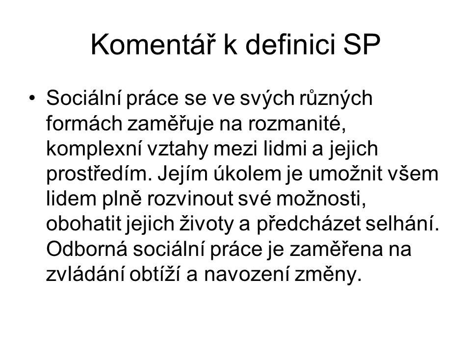 Komentář k definici SP •Sociální práce se ve svých různých formách zaměřuje na rozmanité, komplexní vztahy mezi lidmi a jejich prostředím. Jejím úkole