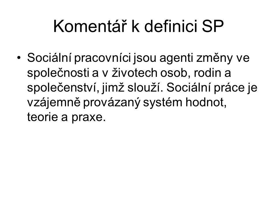 Komentář k definici SP •Sociální pracovníci jsou agenti změny ve společnosti a v životech osob, rodin a společenství, jimž slouží. Sociální práce je v