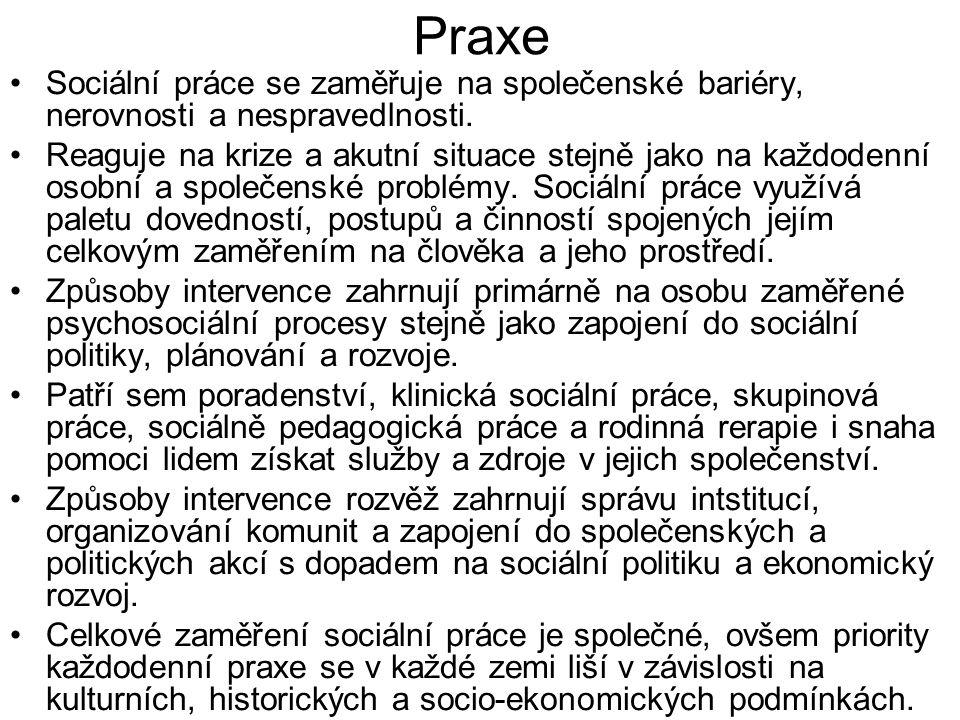 Praxe •Sociální práce se zaměřuje na společenské bariéry, nerovnosti a nespravedlnosti. •Reaguje na krize a akutní situace stejně jako na každodenní o