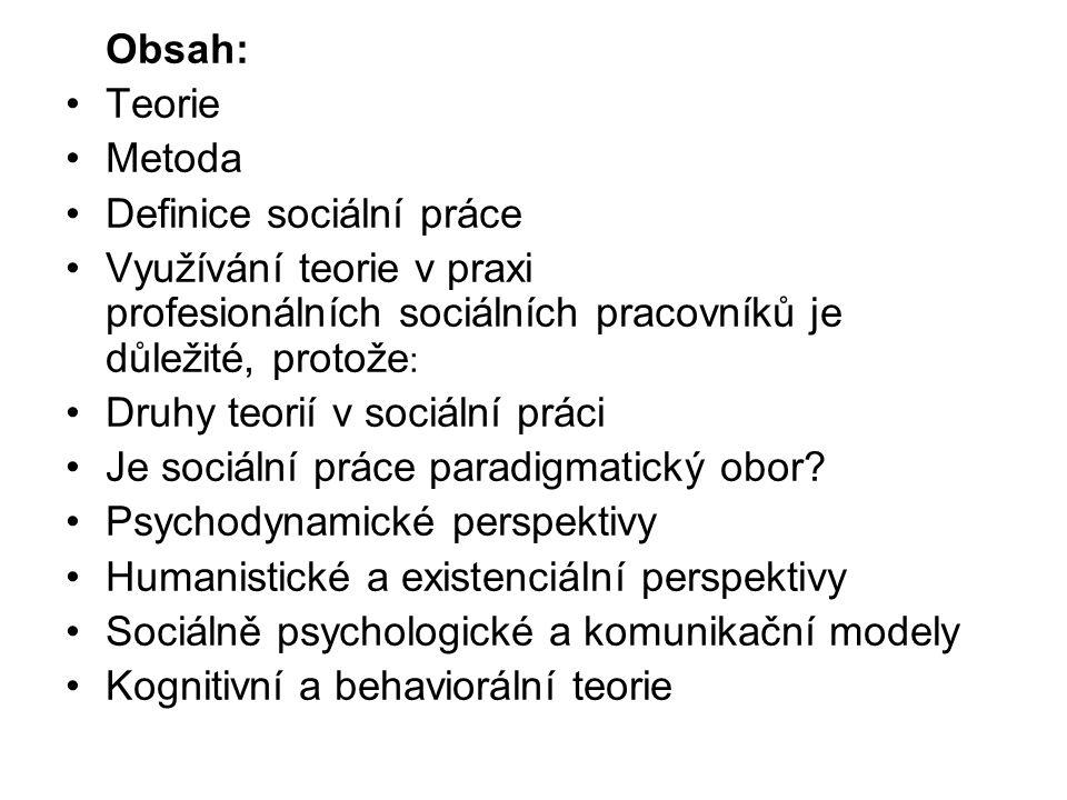 Obsah: •Teorie •Metoda •Definice sociální práce •Využívání teorie v praxi profesionálních sociálních pracovníků je důležité, protože : •Druhy teorií v
