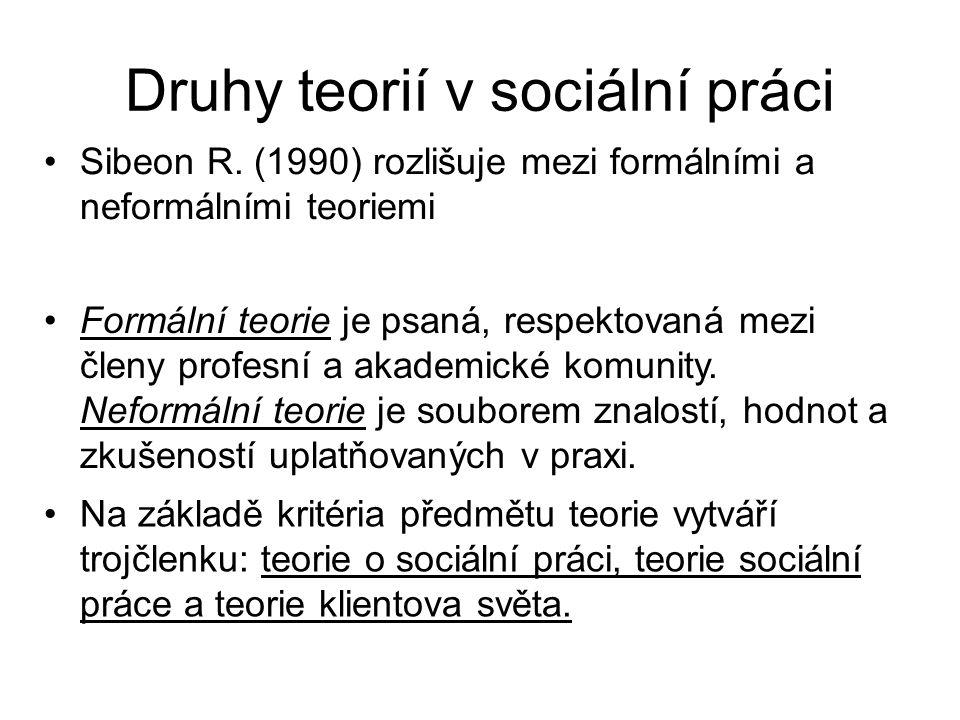 Druhy teorií v sociální práci •Sibeon R. (1990) rozlišuje mezi formálními a neformálními teoriemi •Formální teorie je psaná, respektovaná mezi členy p