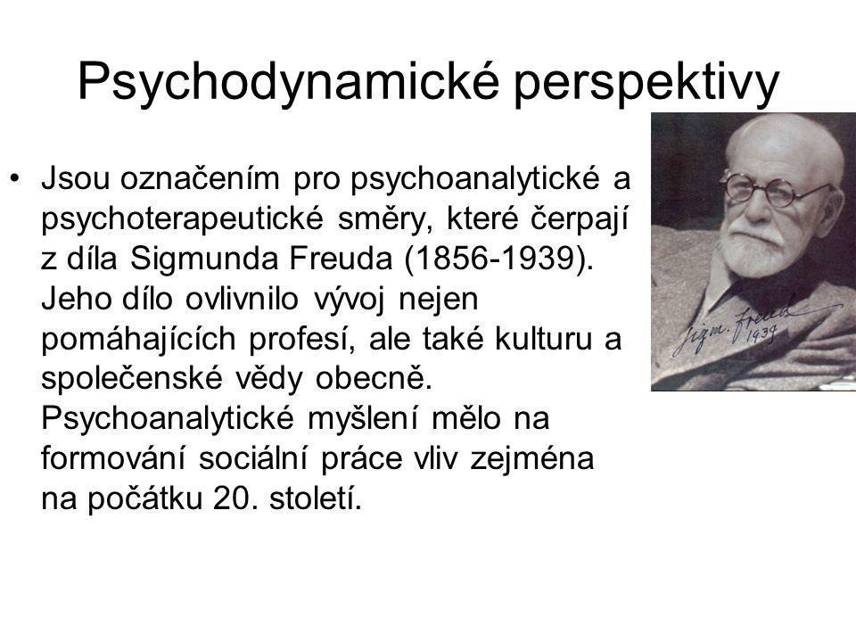 Psychodynamické perspektivy •Jsou označením pro psychoanalytické a psychoterapeutické směry, které čerpají z díla Sigmunda Freuda (1856-1939). Jeho dí