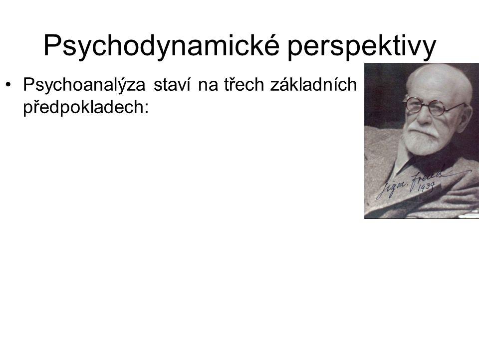 Psychodynamické perspektivy •Psychoanalýza staví na třech základních předpokladech: • Psychický determinismus. Lidské jednání je v zásadní míře ovlivň