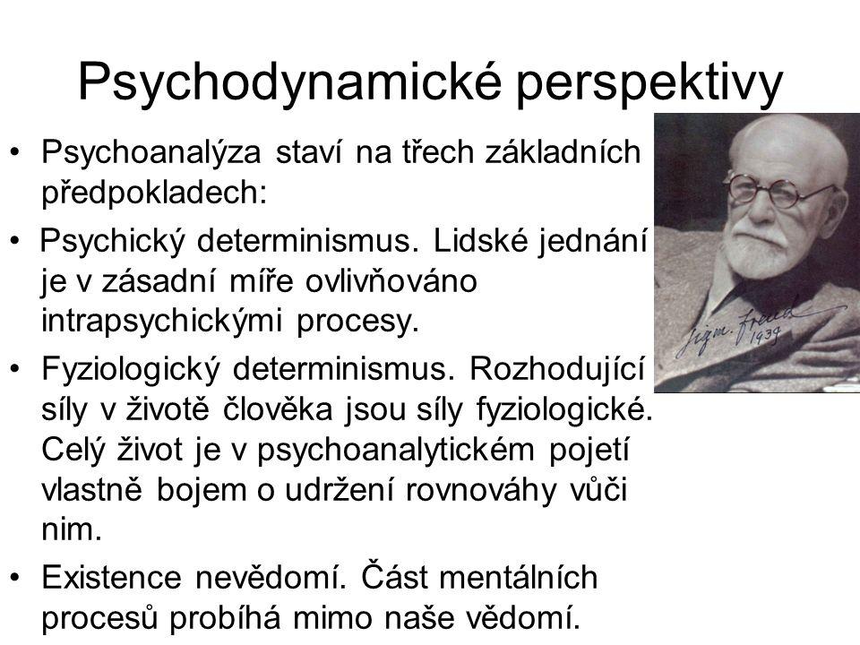 Psychodynamické perspektivy •Psychoanalýza staví na třech základních předpokladech: • Psychický determinismus. Lidské jednání je je v zásadní míře ovl