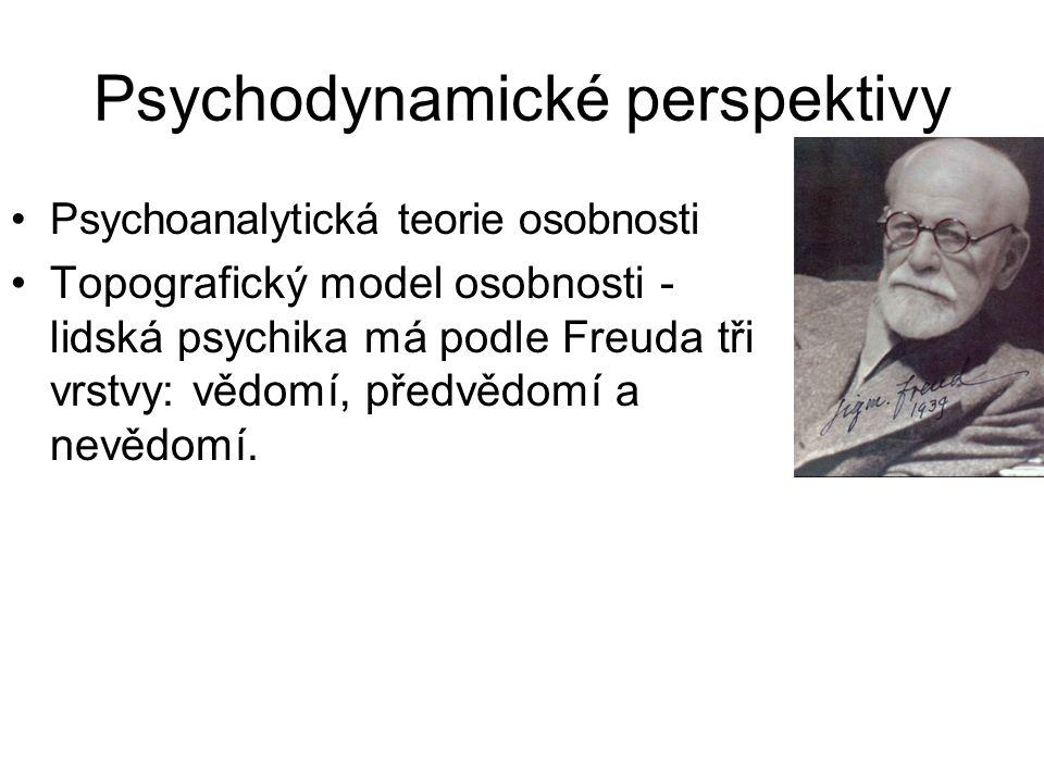 Psychodynamické perspektivy •Psychoanalytická teorie osobnosti •Topografický model osobnosti - lidská psychika má podle Freuda tři vrstvy: vědomí, pře
