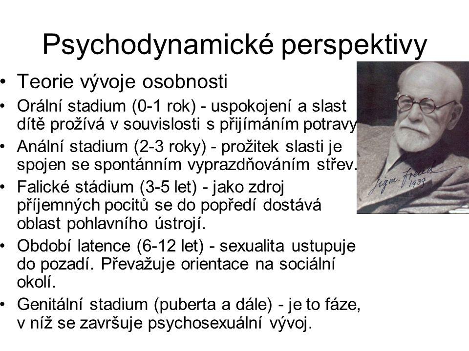 Psychodynamické perspektivy •Teorie vývoje osobnosti •Orální stadium (0-1 rok) - uspokojení a slast dítě prožívá v souvislosti s přijímáním potravy. •