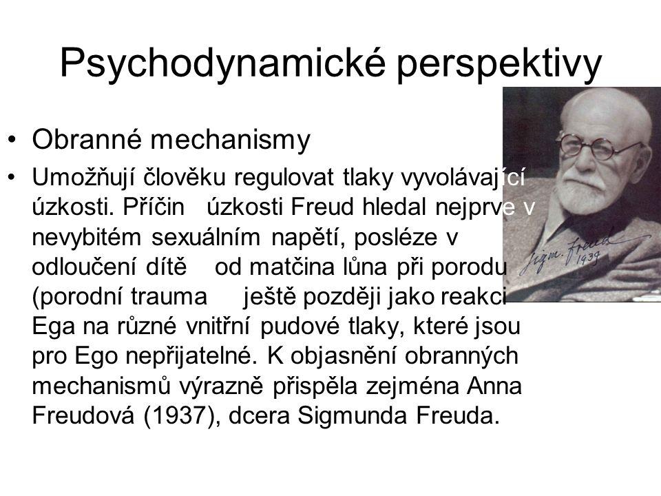 Psychodynamické perspektivy •Obranné mechanismy •Umožňují člověku regulovat tlaky vyvolávající úzkosti. Příčinu úzkosti Freud hledal nejprve v nevybit