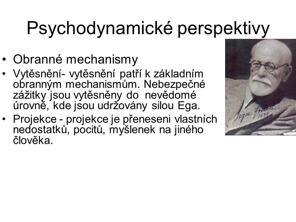Psychodynamické perspektivy •Obranné mechanismy •Vytěsnění- vytěsnění patří k základním obranným mechanismům. Nebezpečné zážitky jsou vytěsněny do nev