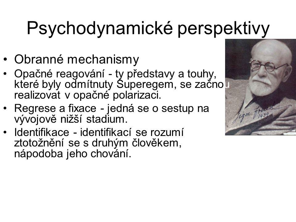 Psychodynamické perspektivy •Obranné mechanismy •Opačné reagování - ty představy a touhy, které byly odmítnuty Superegem, se začnou realizovat v opačn