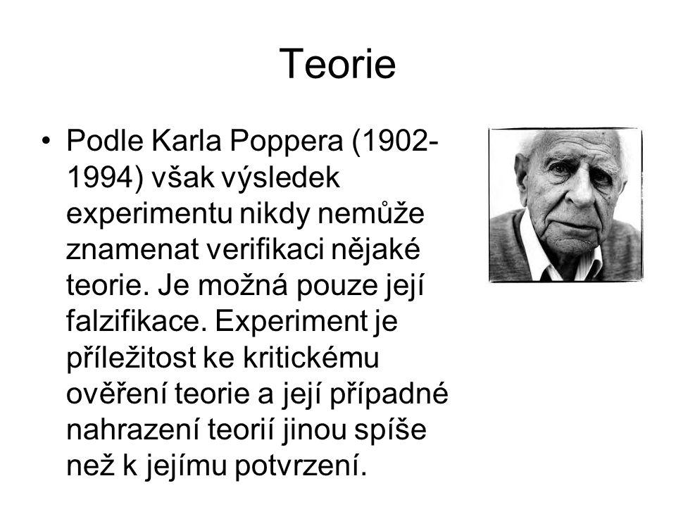Teorie •Podle Karla Poppera (1902- 1994) však výsledek experimentu nikdy nemůže znamenat verifikaci nějaké teorie. Je možná pouze její falzifikace. Ex