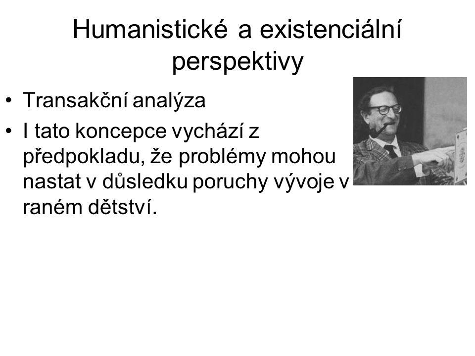 Humanistické a existenciální perspektivy •Transakční analýza •I tato koncepce vychází z předpokladu, že problémy mohou nastat v důsledku poruchy vývoj