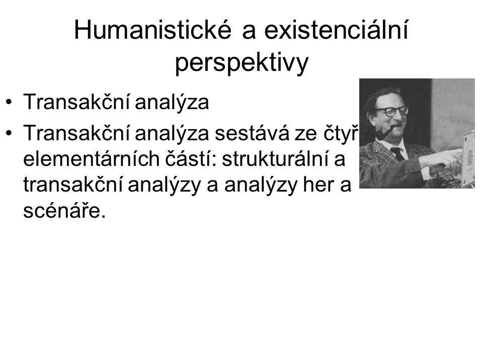 Humanistické a existenciální perspektivy •Transakční analýza •Transakční analýza sestává ze čtyř elementárních částí: strukturální a transakční analýz