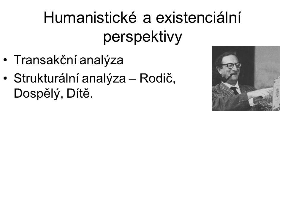 Humanistické a existenciální perspektivy •Transakční analýza •Strukturální analýza – Rodič, Dospělý, Dítě.