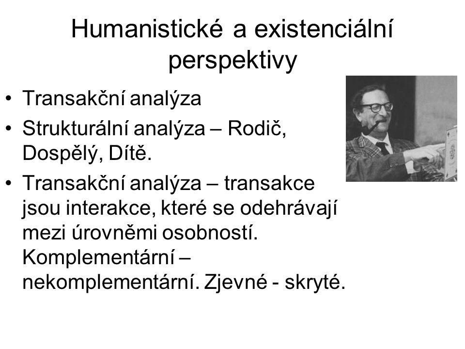 Humanistické a existenciální perspektivy •Transakční analýza •Strukturální analýza – Rodič, Dospělý, Dítě. •Transakční analýza – transakce jsou intera