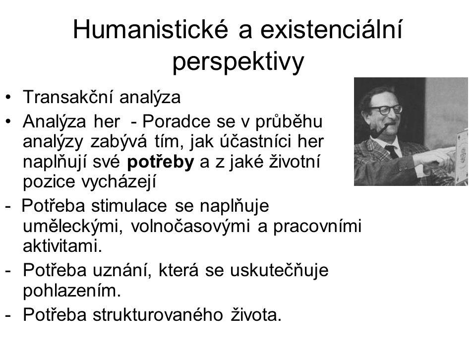 Humanistické a existenciální perspektivy •Transakční analýza •Analýza her - Poradce se v průběhu analýzy zabývá tím, jak účastníci her naplňují své po