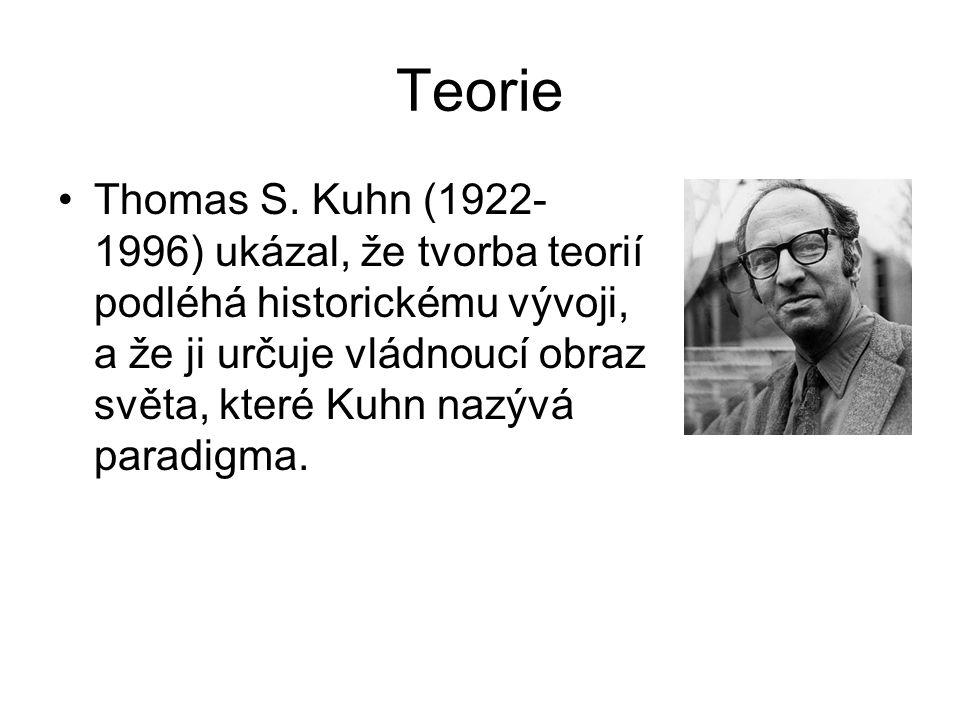 Teorie •Thomas S. Kuhn (1922- 1996) ukázal, že tvorba teorií podléhá historickému vývoji, a že ji určuje vládnoucí obraz světa, které Kuhn nazývá para