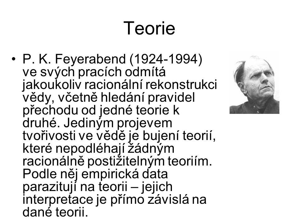 Teorie •P. K. Feyerabend (1924-1994) ve svých pracích odmítá jakoukoliv racionální rekonstrukci vědy, včetně hledání pravidel přechodu od jedné teorie