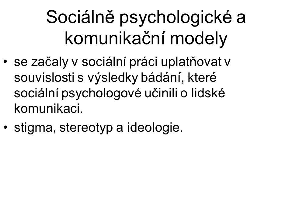 Sociálně psychologické a komunikační modely •se začaly v sociální práci uplatňovat v souvislosti s výsledky bádání, které sociální psychologové učinil