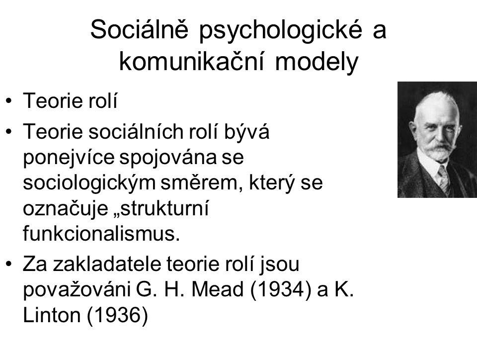 """Sociálně psychologické a komunikační modely •Teorie rolí •Teorie sociálních rolí bývá ponejvíce spojována se sociologickým směrem, který se označuje """""""