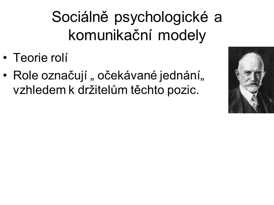 """Sociálně psychologické a komunikační modely •Teorie rolí •Role označují """" očekávané jednání"""" vzhledem k držitelům těchto pozic."""