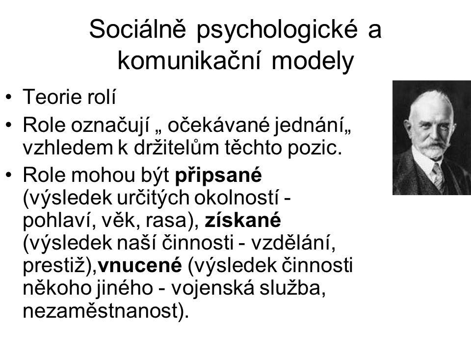 """Sociálně psychologické a komunikační modely •Teorie rolí •Role označují """" očekávané jednání"""" vzhledem k držitelům těchto pozic. •Role mohou být připsa"""