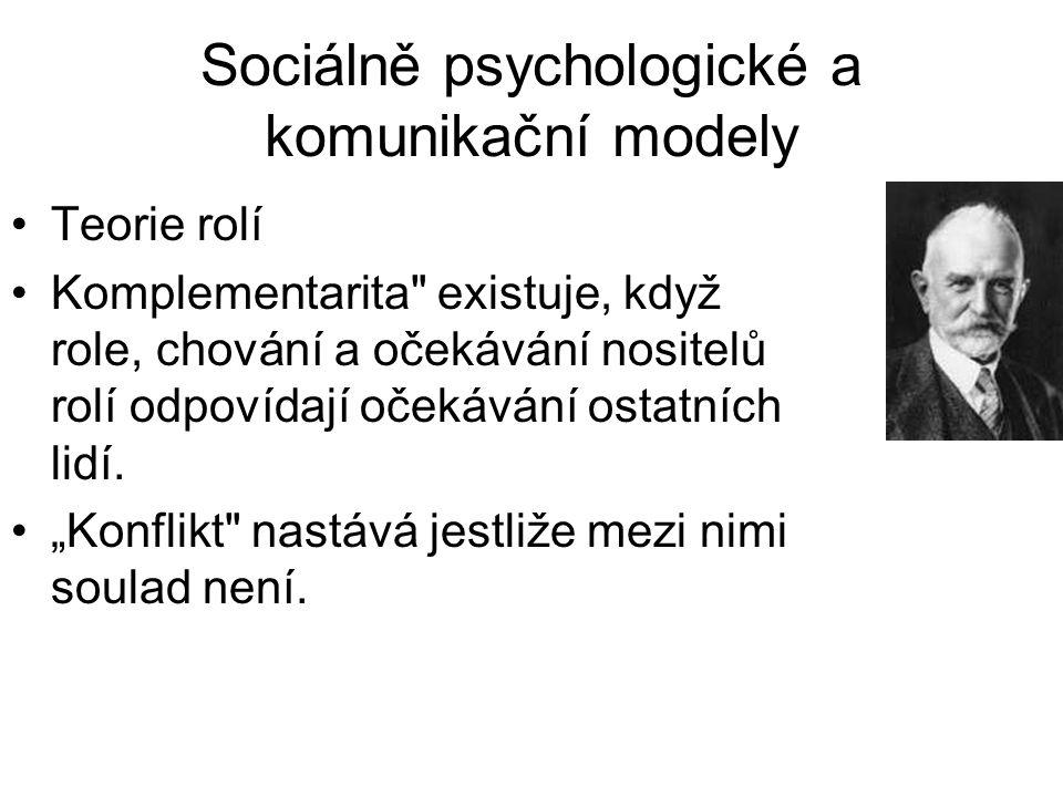 Sociálně psychologické a komunikační modely •Teorie rolí •Komplementarita