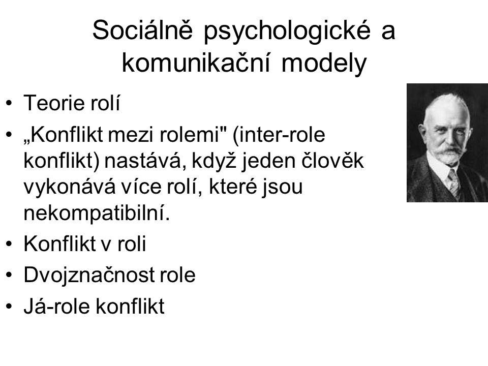 """Sociálně psychologické a komunikační modely •Teorie rolí •""""Konflikt mezi rolemi"""