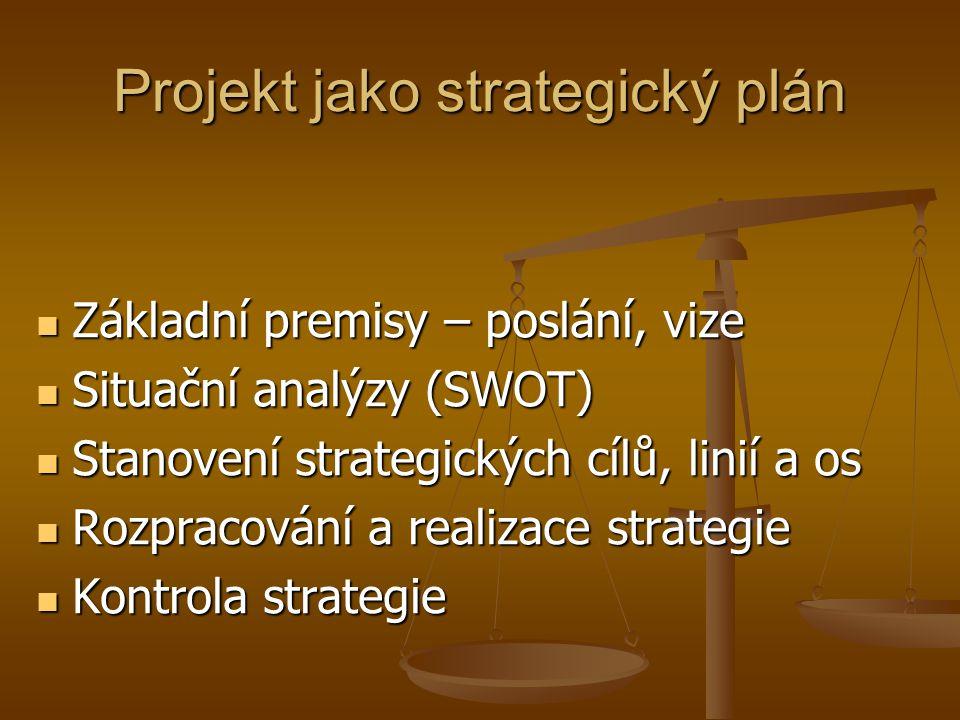 Projekt jako strategický plán  Základní premisy – poslání, vize  Situační analýzy (SWOT)  Stanovení strategických cílů, linií a os  Rozpracování a