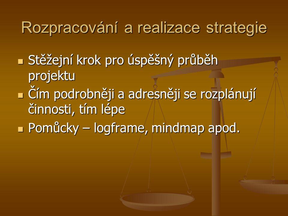Rozpracování a realizace strategie  Stěžejní krok pro úspěšný průběh projektu  Čím podrobněji a adresněji se rozplánují činnosti, tím lépe  Pomůcky