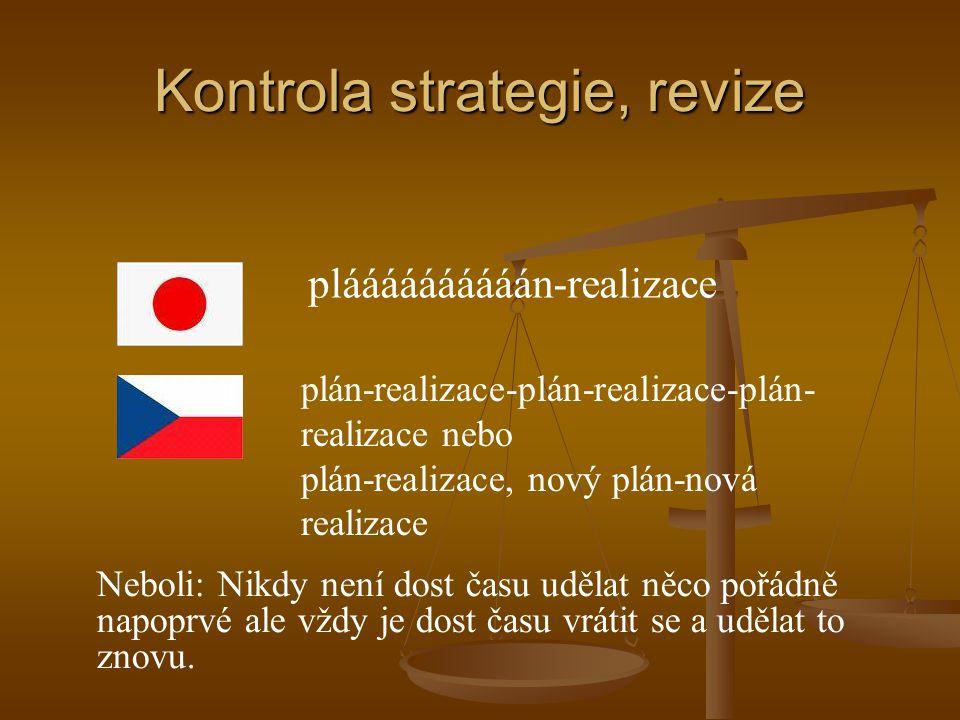 Kontrola strategie, revize pláááááááááán-realizace plán-realizace-plán-realizace-plán- realizace nebo plán-realizace, nový plán-nová realizace Neboli:
