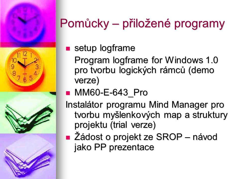Pomůcky – přiložené programy  setup logframe Program logframe for Windows 1.0 pro tvorbu logických rámců (demo verze)  MM60-E-643_Pro Instalátor pro