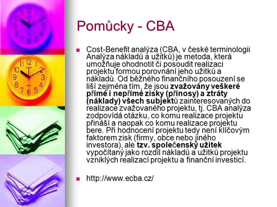 Pomůcky - CBA  Cost-Benefit analýza (CBA, v české terminologii Analýza nákladů a užitků) je metoda, která umožňuje ohodnotit či posoudit realizaci pr