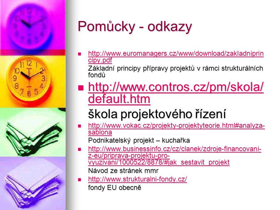 Pomůcky - odkazy  http://www.euromanagers.cz/www/download/zakladniprin cipy.pdf http://www.euromanagers.cz/www/download/zakladniprin cipy.pdf http://