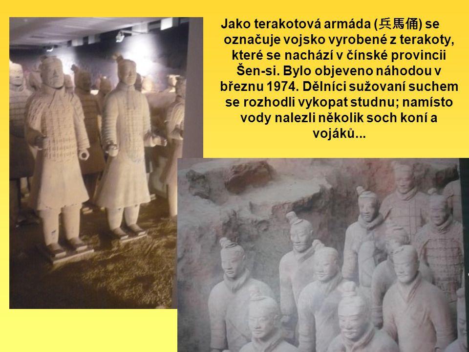 Jako terakotová armáda ( 兵馬俑 ) se označuje vojsko vyrobené z terakoty, které se nachází v čínské provincii Šen-si.