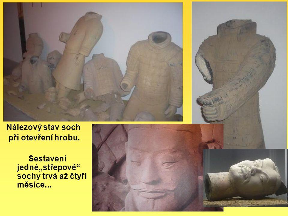 """Nálezový stav soch při otevření hrobu. Sestavení jedné""""střepové sochy trvá až čtyři měsíce..."""