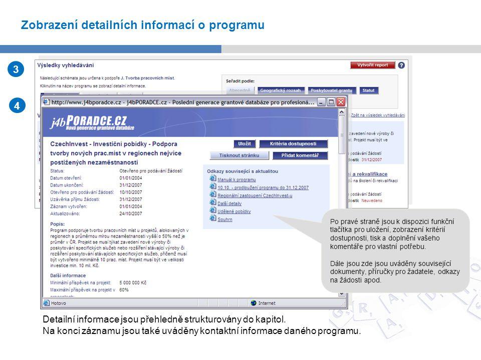 Jako výsledek vyhledávání je zobrazen seznam programů odpovídajících zadaným kritériím vyhledávání.