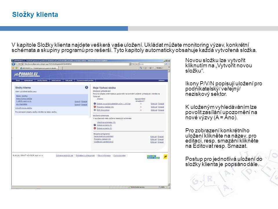 """Reporty (generování rešerší) lze vytvářet zvolením konkrétních programů a kliknutí na červené tlačítko """"Vytvořit report vpravo nahoře."""