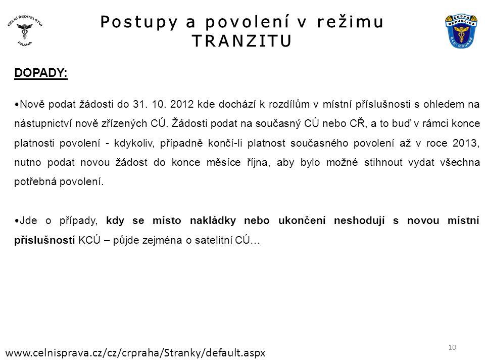 Postupy a povolení v režimu TRANZITU www.celnisprava.cz/cz/crpraha/Stranky/default.aspx DOPADY: • Nově podat žádosti do 31. 10. 2012 kde dochází k roz