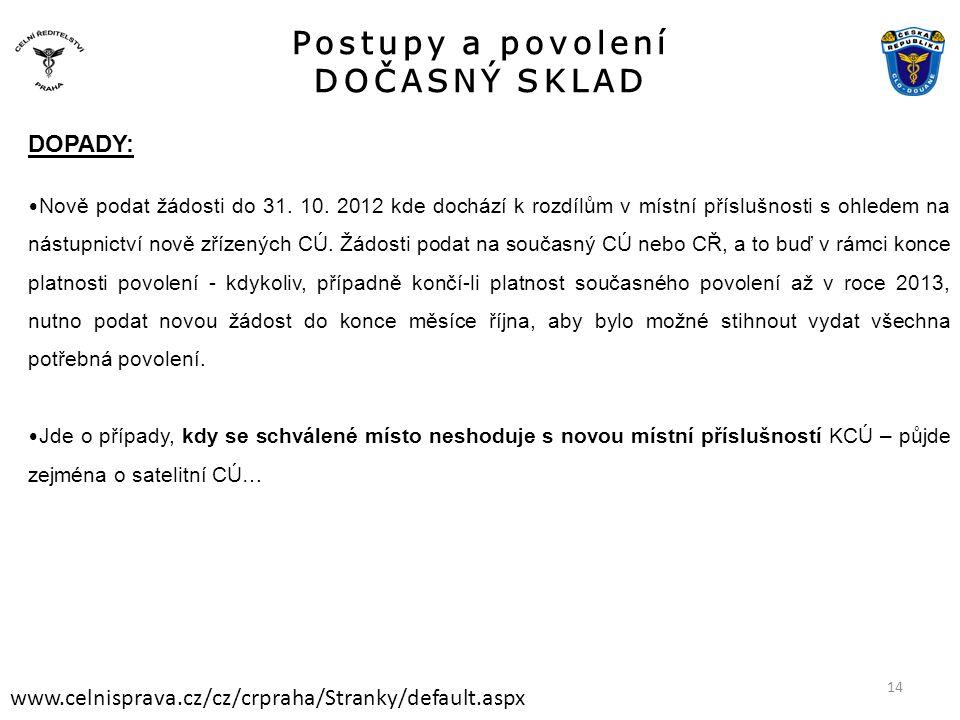Postupy a povolení DOČASNÝ SKLAD www.celnisprava.cz/cz/crpraha/Stranky/default.aspx DOPADY: • Nově podat žádosti do 31. 10. 2012 kde dochází k rozdílů
