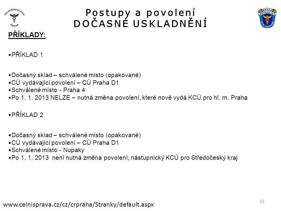 Postupy a povolení DOČASNÉ USKLADNĚNÍ www.celnisprava.cz/cz/crpraha/Stranky/default.aspx PŘÍKLADY: • PŘÍKLAD 1 • Dočasný sklad – schválené místo (opakované) • CÚ vydávající povolení – CÚ Praha D1 • Schválené místo - Praha 4 • Po 1.