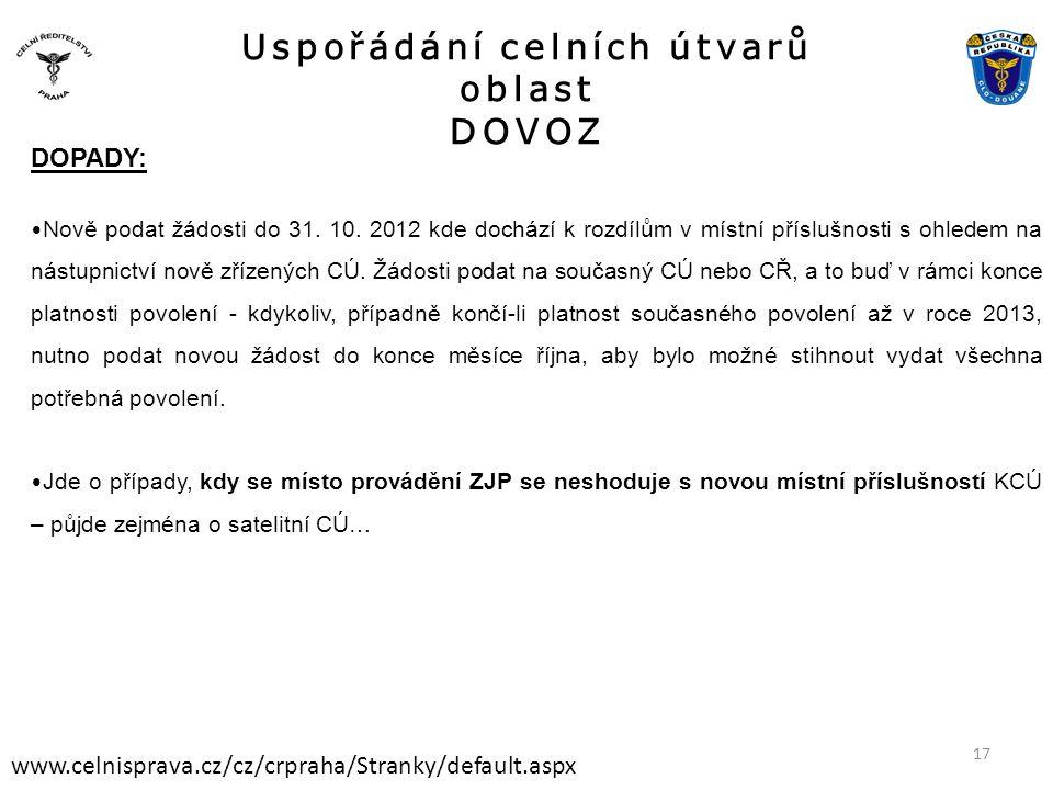 Uspořádání celních útvarů oblast DOVOZ www.celnisprava.cz/cz/crpraha/Stranky/default.aspx DOPADY: • Nově podat žádosti do 31. 10. 2012 kde dochází k r