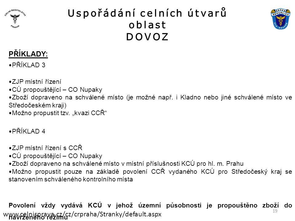 Uspořádání celních útvarů oblast DOVOZ www.celnisprava.cz/cz/crpraha/Stranky/default.aspx PŘÍKLADY: • PŘÍKLAD 3 • ZJP místní řízení • CÚ propouštějící