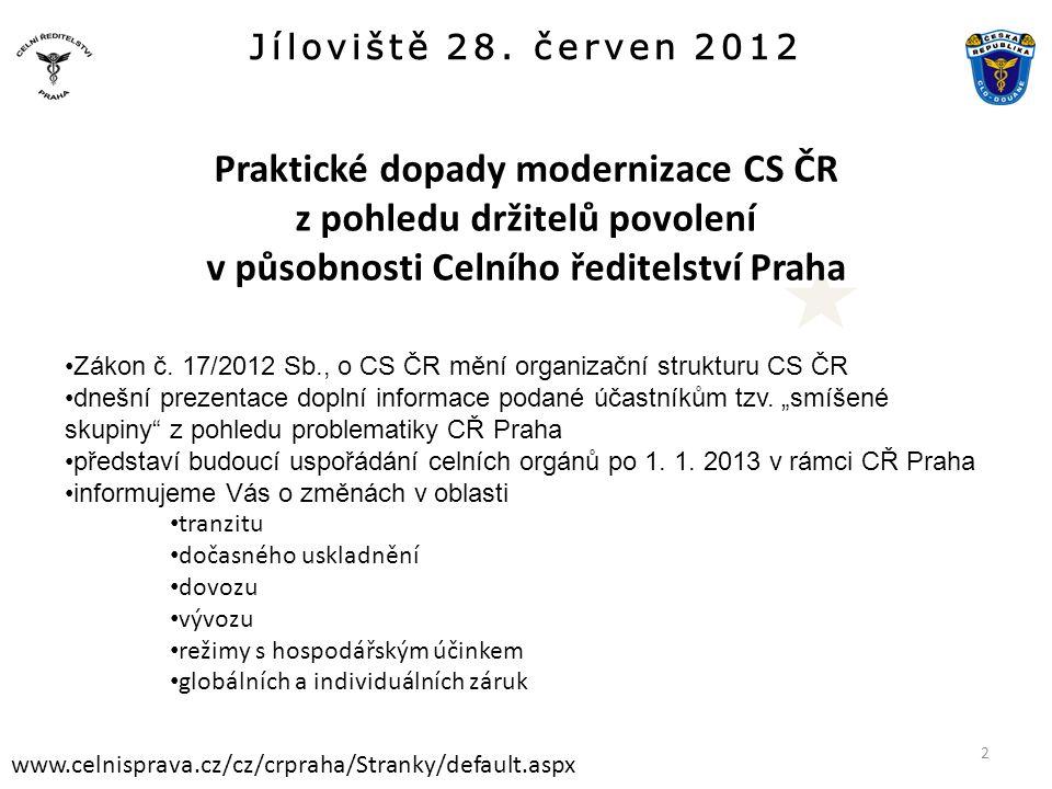 Jíloviště 28. červen 2012 www.celnisprava.cz/cz/crpraha/Stranky/default.aspx Praktické dopady modernizace CS ČR z pohledu držitelů povolení v působnos