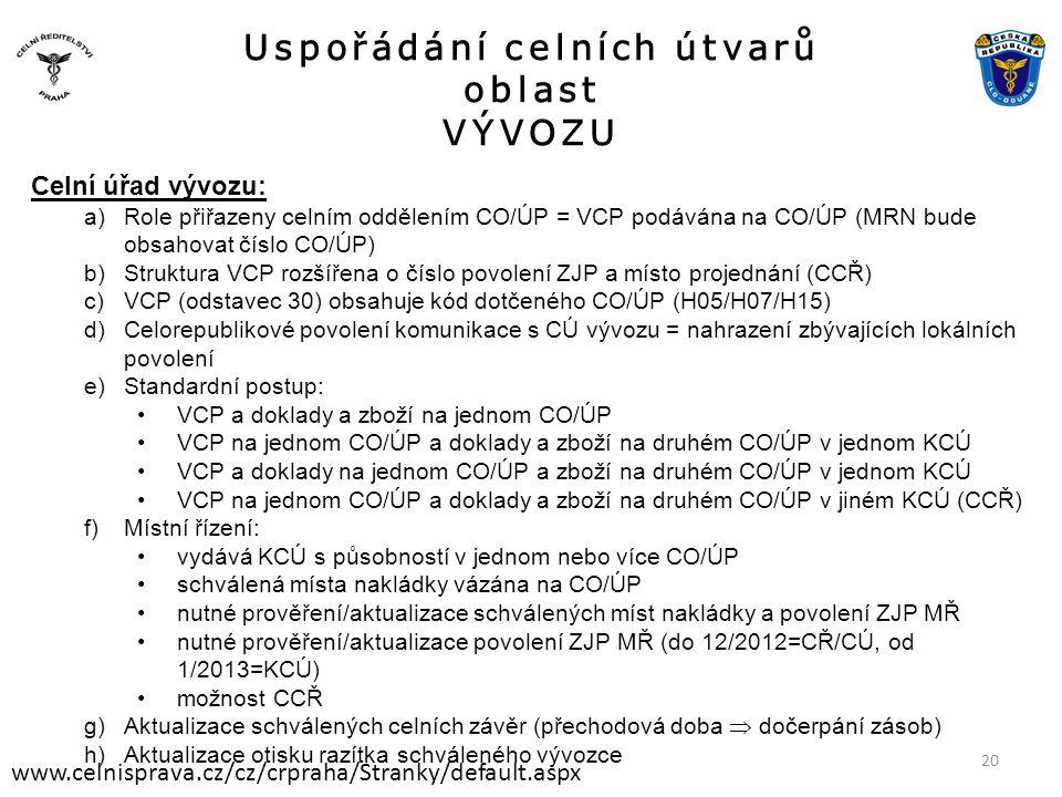 Uspořádání celních útvarů oblast VÝVOZU www.celnisprava.cz/cz/crpraha/Stranky/default.aspx Celní úřad vývozu: a)Role přiřazeny celním oddělením CO/ÚP