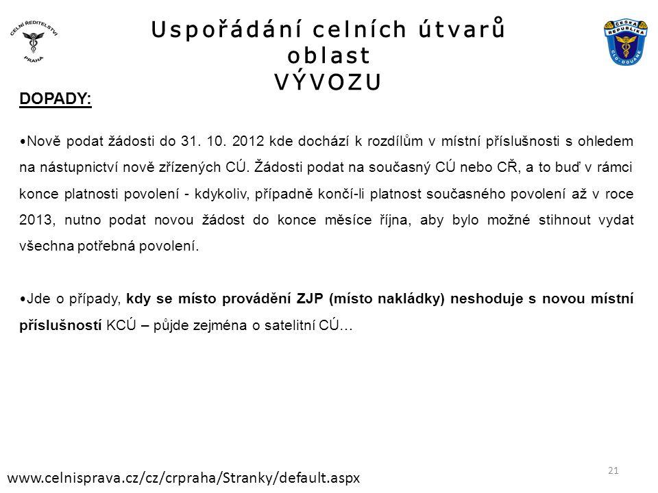 Uspořádání celních útvarů oblast VÝVOZU www.celnisprava.cz/cz/crpraha/Stranky/default.aspx DOPADY: • Nově podat žádosti do 31. 10. 2012 kde dochází k