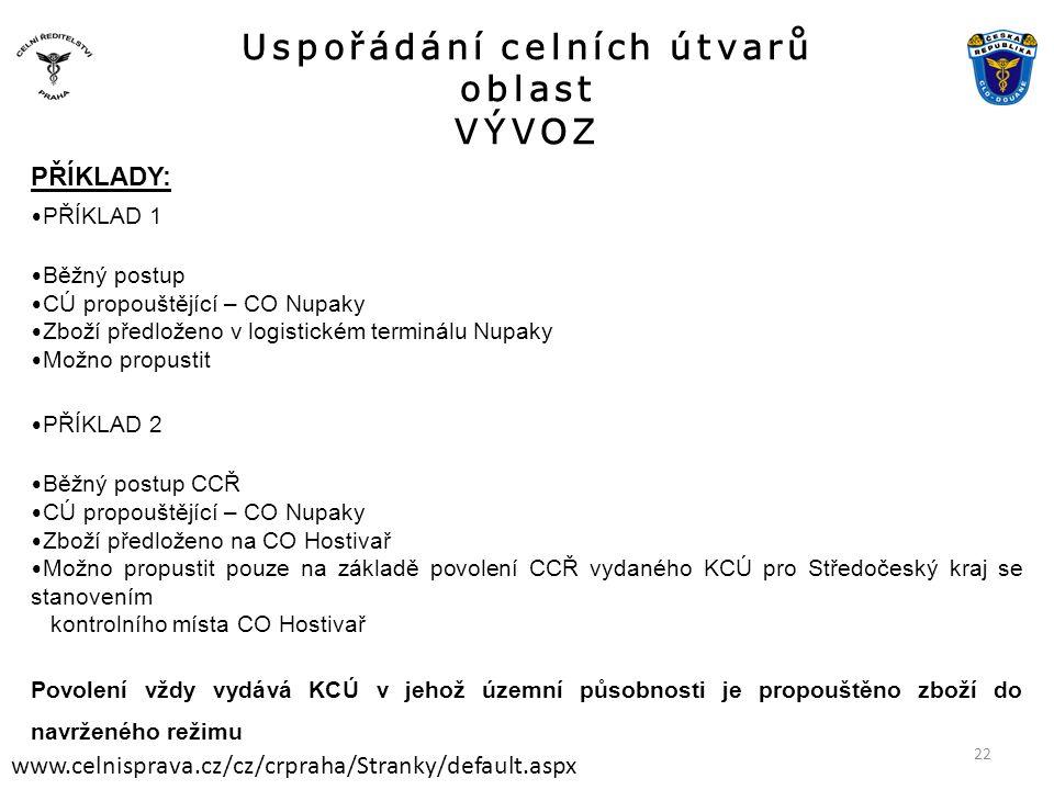 Uspořádání celních útvarů oblast VÝVOZ www.celnisprava.cz/cz/crpraha/Stranky/default.aspx PŘÍKLADY: • PŘÍKLAD 1 • Běžný postup • CÚ propouštějící – CO Nupaky • Zboží předloženo v logistickém terminálu Nupaky • Možno propustit • PŘÍKLAD 2 • Běžný postup CCŘ • CÚ propouštějící – CO Nupaky • Zboží předloženo na CO Hostivař • Možno propustit pouze na základě povolení CCŘ vydaného KCÚ pro Středočeský kraj se stanovením kontrolního místa CO Hostivař Povolení vždy vydává KCÚ v jehož územní působnosti je propouštěno zboží do navrženého režimu 22