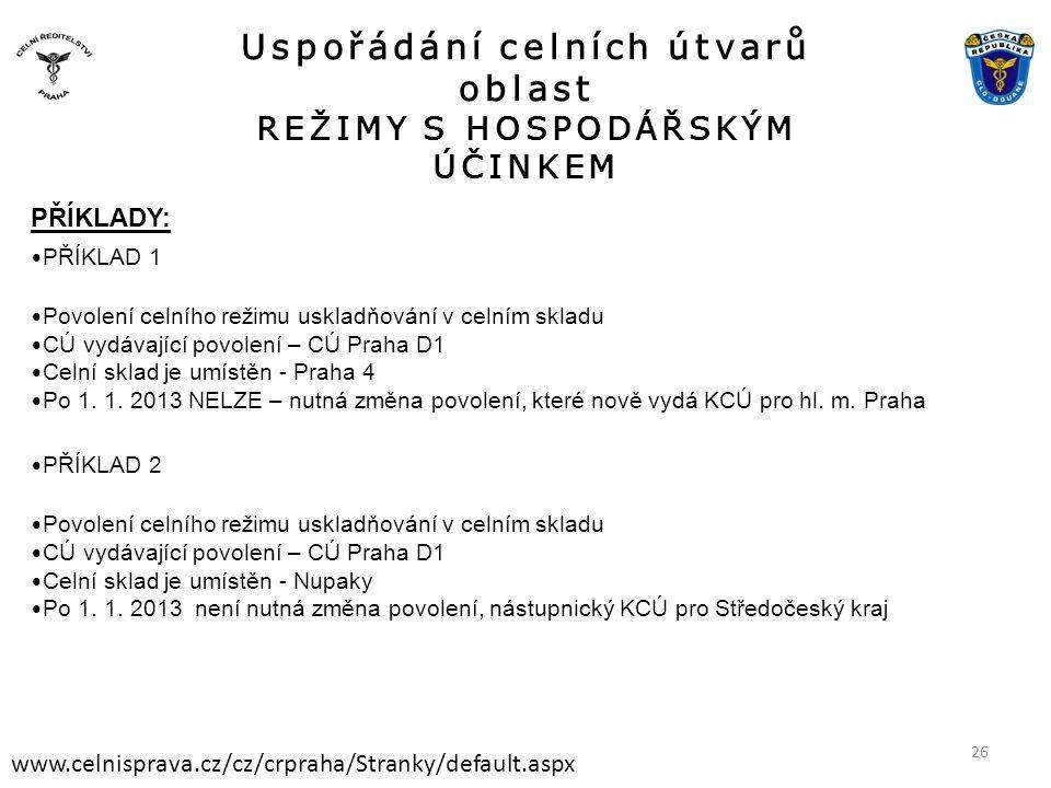 Uspořádání celních útvarů oblast REŽIMY S HOSPODÁŘSKÝM ÚČINKEM www.celnisprava.cz/cz/crpraha/Stranky/default.aspx PŘÍKLADY: • PŘÍKLAD 1 • Povolení celního režimu uskladňování v celním skladu • CÚ vydávající povolení – CÚ Praha D1 • Celní sklad je umístěn - Praha 4 • Po 1.